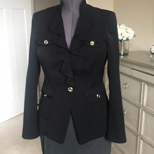 WHBM Black Jacket with Ruffles and Gold Buttons